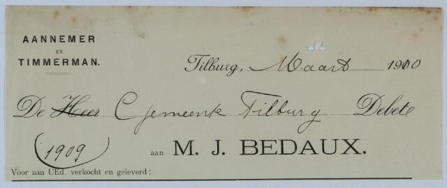 059533 - Briefhoofd. Briefhoofd van Aannemer en Timmerman M.J. Bedaux.