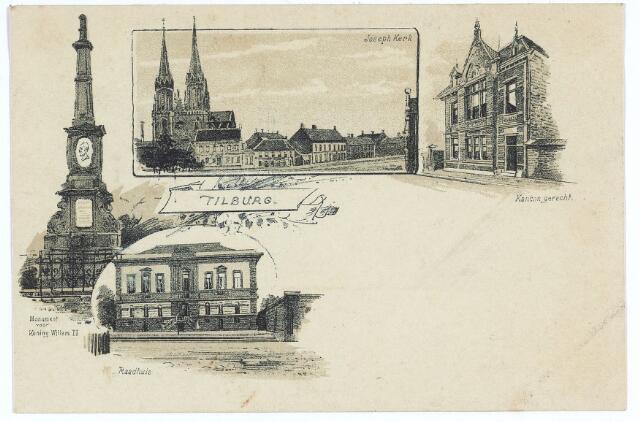 003102 - Boven v.l.n.r. het gedenkteken van koning Willem II op de hoek van de Paleisstraat, de Heuvel met de St. Josephkerk en het kantongerecht aan de Paleisstraat. Onder het voormalige gemeentehuis.