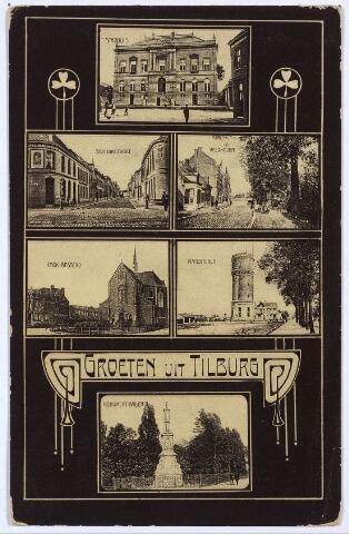 003112 - Bovenaan het voormalige gemeentehuis, vervolgens de Stationsstraat en de Veldhoven (nu Wilhelminapark), daarna de kerk van de Besterd en de watertoren aan de Bredaseweg. Onder het Jugendstilmotief met 'Groeten uit Tilburg' de gedenknaald voor koning Willem II op de hoek van de Paleisstraat.