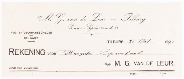 060575 - Briefhoofd. Nota van M.G. v.d. Leur, huis-, decoratie- en reclameschilder, Prinses Sophiastraat 38 voor Tilburgsche Spaarbank.