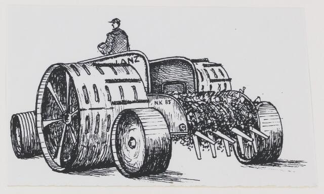 079550 - De Zandleij; Ter ontginning van het Helvoirts Broek werd kort              na de Eerste Wereldoorlog gebruik gemaakt van een zware              Lanz-freesmachine. De brede wielen moesten wegzakken in de              drassige bodem voorkomen