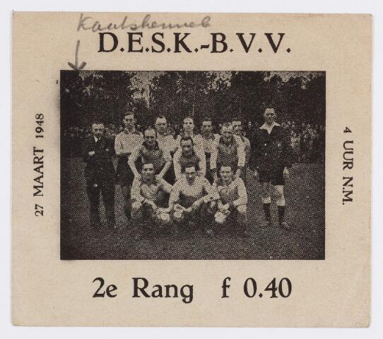 056514 - Sport. Voetbal. Elftal D.E.S.K. te Kaatsheuvel t.g.v. wedstrijd D.E.S.K. - B.V.V.