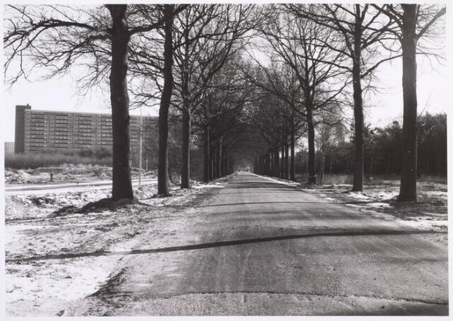 014461 - Baden Powelllaan. Links, tussen de bomen, de Karel Boddeweg. De flat linksboven staat aan het Kwendelhof