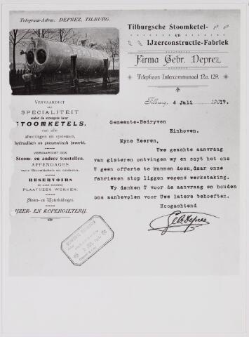 040857 - Arbeidsconfikt 1917 te Tilburg. Brief aan de gemeente Eindhoven door firma Gebr. Deprez inzake de staking in 1917 waardoor geen offerte kon worden uitgebracht.