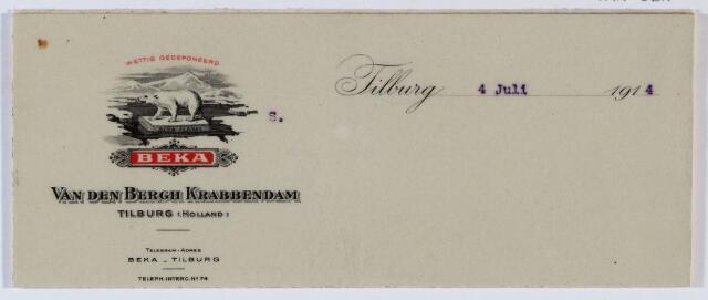 """059549 - Briefhoofd. Briefhoofd van N.V. Wollen- Flanel Fabrieken """"Beka"""" v/h/ Van den Bergh Krabbendam"""