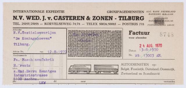 059833 - Briefhoofd. Briefhoofd van N.V. Wed. J. van Casteren & Zonen, internationale expeditie, Korvelseweg 74/78