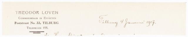 060606 - Briefhoofd. Briefhoofd van Theodor Loven, commisionnair in effecten, Poststraat 33