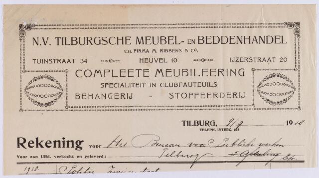 060969 - Briefhoofd. Nota van N.V. Tilburgsche Meubel- en beddenhandel v.h. Firma M. Ribbens & Co, Tuinstraat 34 - Heuvel 10 - Ijzerstraat 20 voor de gemeente Tilburg