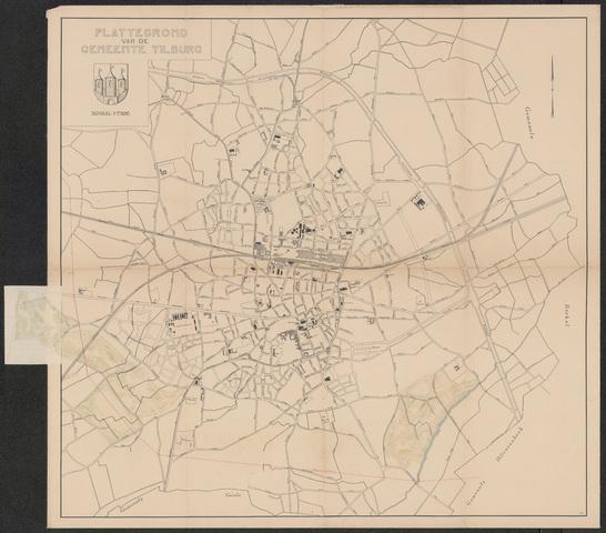652549 - Plattegrond van Tilburg met daarop het ontworpen Leijpark en het ontworpen park aan de Berkdijksestraat.