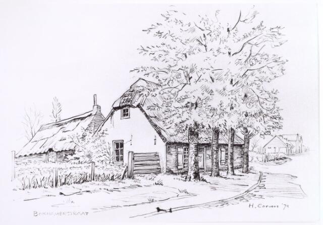 015696 - Tekening. Pand Bokhamerstraat 13. Tekening van H. Corvers uit 1974