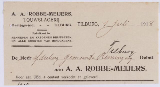 060991 - Briefhoofd. Nota van A.A. Robbe - Meijers, touwslagerij, Haringseind voor gemeente reiniging van Tilburg