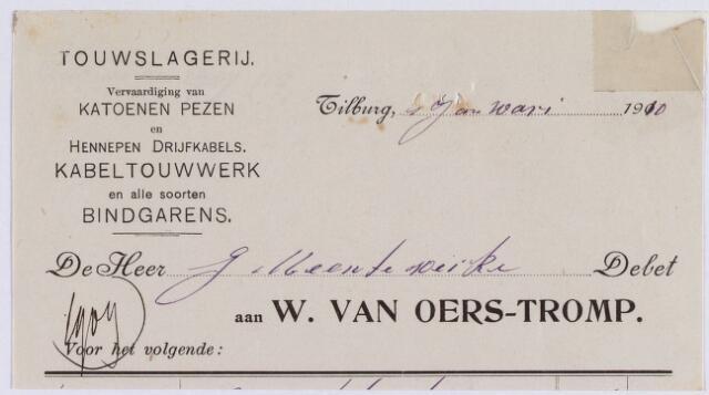 060845 - Briefhoofd. Nota van W. van Oers-Tromp, touwslagerij, voor de gemeente werken Tilburg