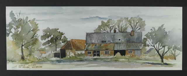 """072187 - Aquarel. Frater Paschalius """"Goirle in aquarel"""". Achterzijde boerderij Van den Broek aan de Nieuwe Rielseweg."""