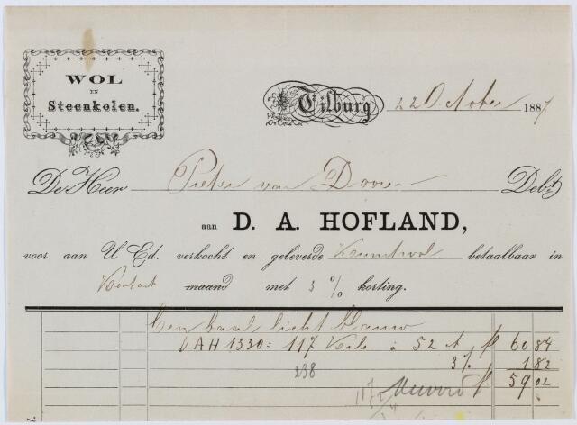 060302 - Briefhoofd. Nota van D.A. Hofland, Wol en Steenkolen, voor Pieter van Doorn te Tilburg