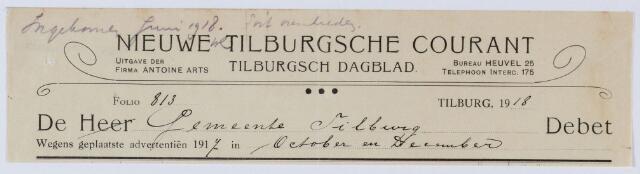 059502 - Briefhoofd. Rekening van Nieuwe Tilburgsche Courant, Tilburgsch Dagblad voor gemeente Tilburgwegens geplaatste advertenties