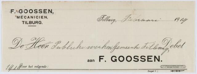 060173 - Briefhoofd. Nota van F. Goossen, mécaniciën, voor Publieke werken Tilburg
