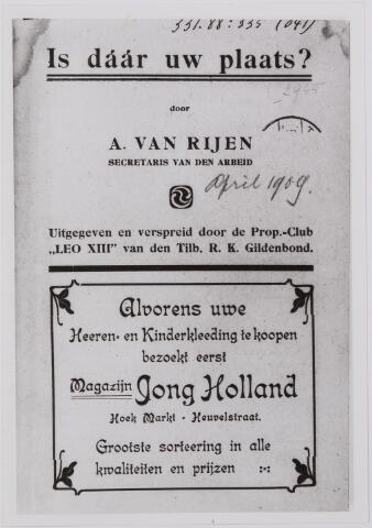 040896 - Vakbeweging. Is daar Uw plaats ? door A. van Rijen secretaris van de arbeid.
