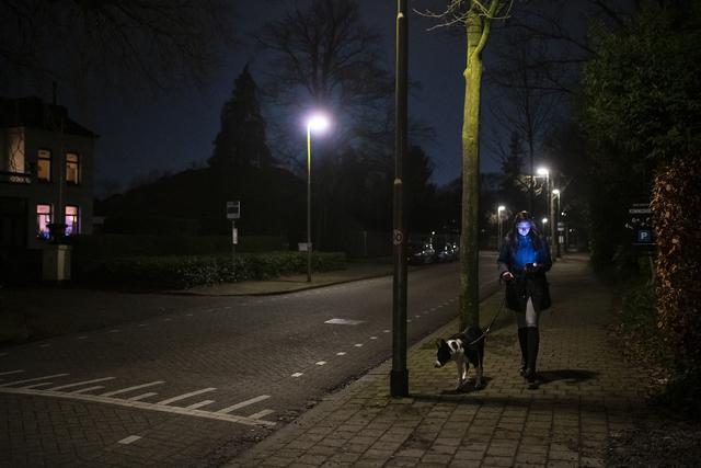 17280766 - Covid-19. Corona. Ziekten. Epidemieën. Pandemie.Op zaterdag 23 januari 2021 wordt de avondklok van kracht. Tussen 21.00 en 04.30 uur moet men binnen blijven. Er zijn echter enkele uitzonderingen zoals mensen in vitale beroepen, mantelzorgers, maaltijdbezorgers en hondenbezitters. De avondklokhond wordt een begrip. Een vrouw wandelt met haar hond door een donkere verlaten straat terwijl ze op haar telefoon kijkt.