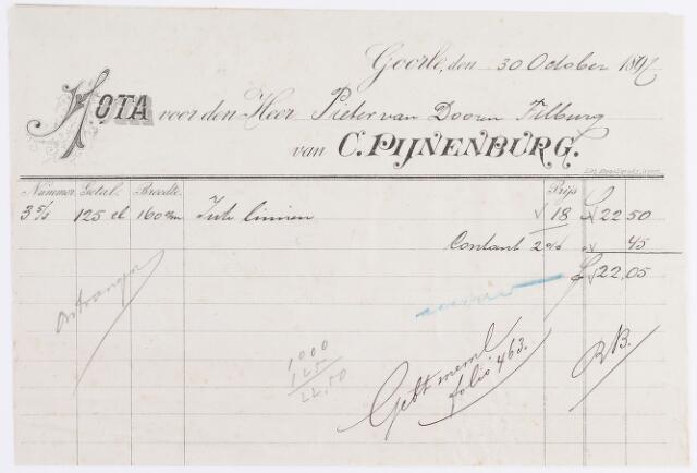 056278 - Briefhoofd. Factuur van de firma C. Pijnenburg, textielfabrikant te Goirle.