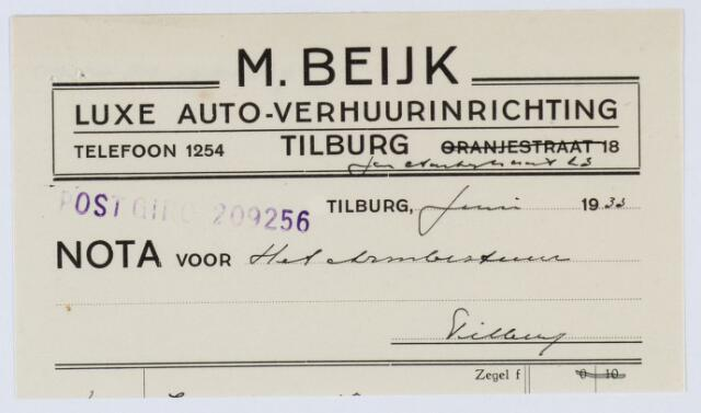 059629 - Briefhoofd. Nota van M. Beijk, Luxe Auto - Verhuurinrichting, Jan Aartsstraat 23 voor het Armbestuur te Tilburg
