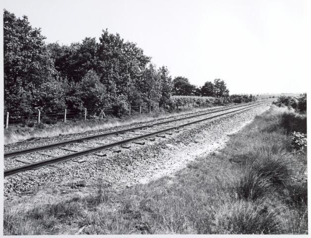 015319 - Landschap. Voormalige spoorlijn Tilburg - Turnhout, in de volksmond ´Bels lijntje´ genoemd. Op Nederlands grondgebied is het thans een fietspad