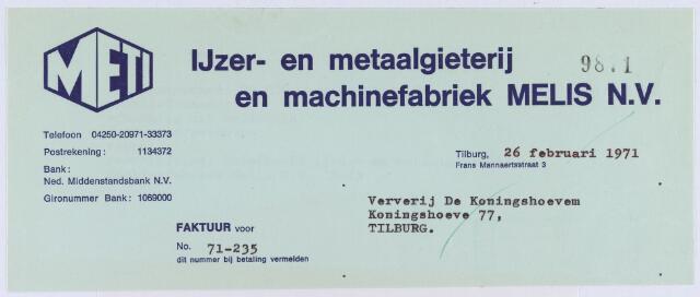 060736 - Briefhoofd. Nota van IJzer- en metaalgieterij en machinefabriek Melis N.V., Frans Mannaertsstraat 3, voor Ververij De Koningshoeven, Koningshoeven 77