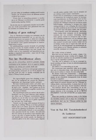 040867 - Vakbeweging. Textielstaking 1935. Nedetlandse R.K. Textielarbeidersbond 'St. Lambertus' roept op tot bezinning.