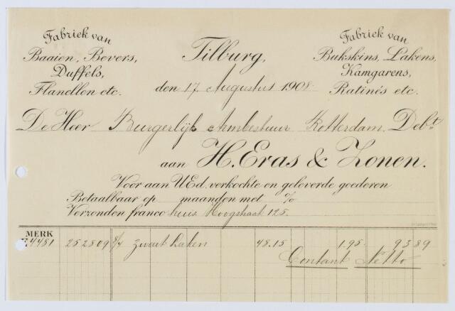 060046 - Briefhoofd. Nota van H. Eras & Zonen, Fabrikanten van Wollenstoffen voor Burgerlijk Armbestuur te Rotterdam