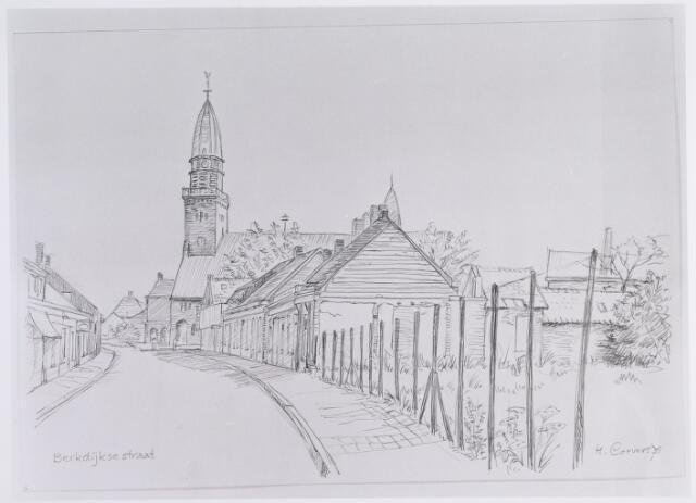 014657 - Tekening. Tekening van H. Corvers uit 1975 van de Berkdijksestraat