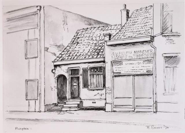 028643 - Tekening. Tekening door H. Corvers van de panden aan het Piusplein 50-48, onder andere A. van Erven, aannemer, machine- en timmerbedrijf.