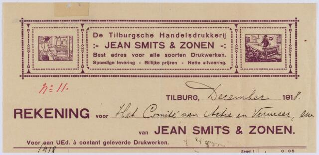 """061113 - Briefhoofd. Nota van de Tilburgsche Handelsdrukkerij Jean Smits & Zonen, uitgave van het """"Tilburgsch Weekblad"""", Noordstraat voor het comite van actie verweer"""