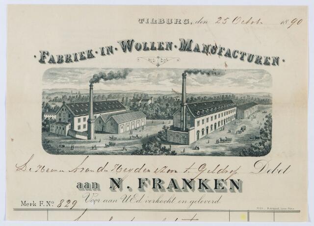 060108 - Briefhoofd. Nota van Fabriek-in-Wollen-Manufacturen N. Franken voor A. van der Heijden & Zoon te Geldrop