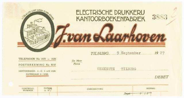 060550 - Briefhoofd. Nota van J van Laarhoven, Electrische drukkerij, kantoorboekenfabriek, boekbinderij en papierhandel, Wilhelminapark 7 voor gemeente Tilburg