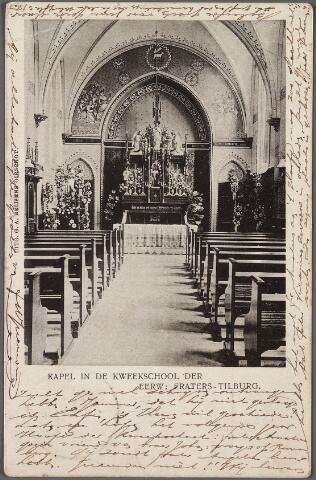 010973 - Onderwijs. Interieur kapel van de kweekschool van de fraters van Tilburg aan de Gasthuisstraat, nu Gasthuisring.