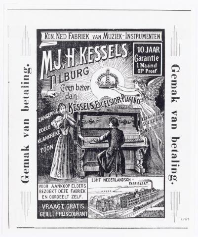 038329 - Advertentie uit de Tilburgsche Courant van 25 november 1900 van M.J.H. Kessels, Koninklijke Nederlandsche Fabriek van Muziekinstrumenten voor de Kessels Excelsior piano.