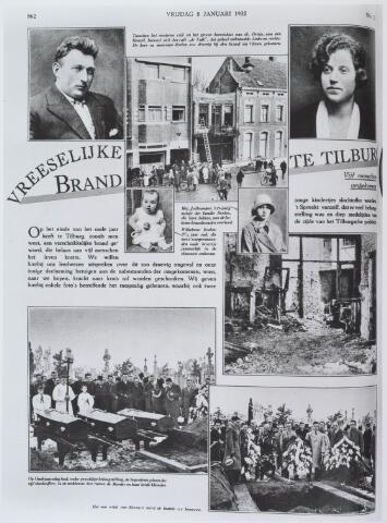 021223 - Pagina van Ons Zuiden van 8 januari 1932 die aandacht besteed aan het drama bij café De Valk. Het café, gelegen  het huis van dr. Dröge (rechts) brandde geheel uit. Het echtpaar Roelen (boven links en rechts) benevens hun twee kleine kinderen kwamen hierbij om, evenals de 19-jarige dienstbode Jo Broeders. Onderaan de pagine foto`s van de uitvaart