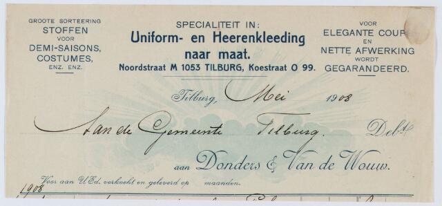 059925 - Briefhoofd. Nota van Donders & Van de Wouw, specialiteit in Uniform- en Heerenkleeding naar maat, Noordstraat M 1053 en Koestraat O 99 voor de gemeente Tilburg