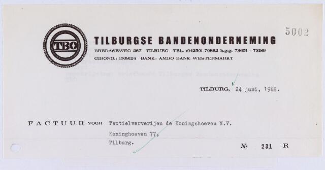 061227 - Briefhoofd. Nota van Tilburgse bandenonderneming, Bredaseweg 287 voor Textielververijen de Koningshoeven N.V., Koningshoeven 77
