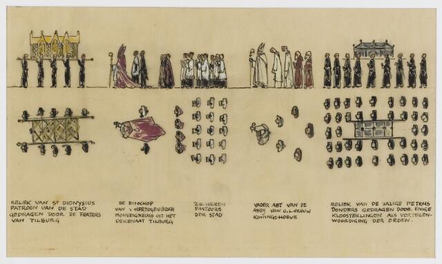 068592 - Processies. Ontwerp-fragment van de H. Harthulde-stoet, door Frans Mandos en Jos Zeegers T.zn.