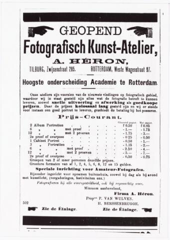 008470 - Advertentie van A. Héron (Paul van Wulven en Henri Berssenbrugge) in de ´Tilburgsche Courant´van 31 maart 1901.