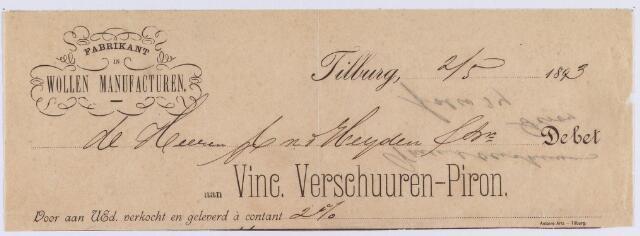 061328 - Briefhoofd. Nota van Vinc. Verschuuren-Piron, fabrikant in wollen manufacturen voor v.d. Heijden & zn