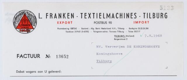 060106 - Briefhoofd. Nota van L. Franken-Textielmachines-Tilburg, Reigerstraat 2 voor NV Ververijen De Koningshoeven, Koningshoeven 77