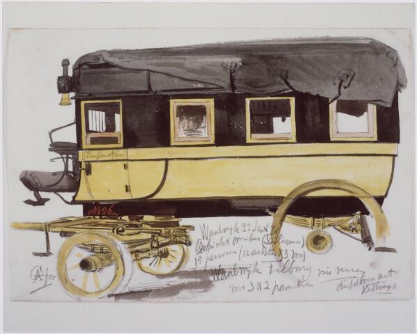 041455 - De diligence Tilburg - Waalwijk werd getrokken door twee 'Waalse' paarden en bood plaats aan negen personen. A. Grolman tekende de koets in 1879. Hier een cabriolet omnibus voor 15 personen.