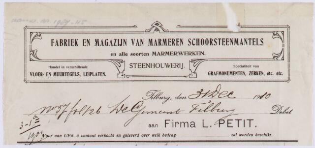 060904 - Briefhoofd. Nota van Firma L. Petit, fabriek en magazijn van marmeren schoorsteenmantels voor de gemeente Tilburg