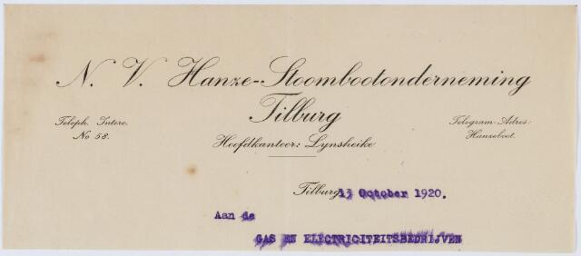 060254 - Briefhoofd. Briefhoofd van N.V. Hanze- Stoombootonderneming Tilburg