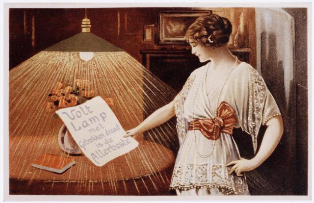 039070 - Volt. Zuid. Productie, fabricage van lampen. Reclame uit 1922 waarin de overgang van gespoten naar getrokken gloeidraad tot uitdrukking kwam.Vanaf toen kon men spiraalvormige gloeidraden toepassen. Men kon de patenten hierover met diverse tegenslagen afkopen tussen 1922 en 1923. Voltstraat heette toen Nieuwe Goirleseweg.