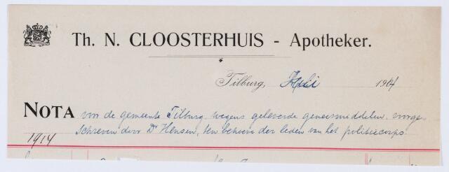 059853 - Briefhoofd. Nota van Th. N. Cloosterhuis - Apotheker, voor de gemeente Tilburg