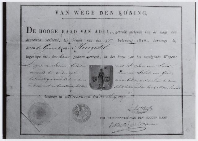 057035 - De Hoge Raad van Adel verleende aan Moergestel een gemeentewapen op 16 juli 1817 met daarop de afbeelding van St. Jan