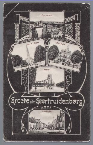 058360 - Verzamelkaart met opnamen uit 1903 en 1909. R.K. kerk, Stadhuis, Markt, Koestraat.