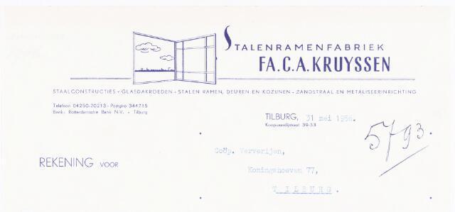 060520 - Briefhoofd. Nota van Fa. C.A. Kruyssen, stalenramenfabriek, Koopvaardijstraat 39-33 voor Coöp. Ververijen, Koningshoeven 77